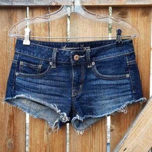 American eagle jean shorts darkwash sz 0 raw hem